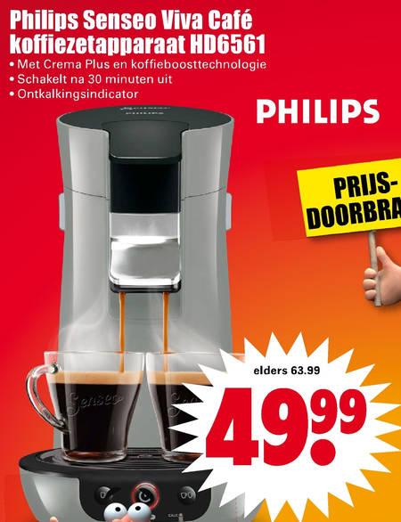 Philips koffiepadmachine folder aanbieding bij Dirk details