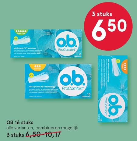 O.B.   tampons folder aanbieding bij  Etos - details