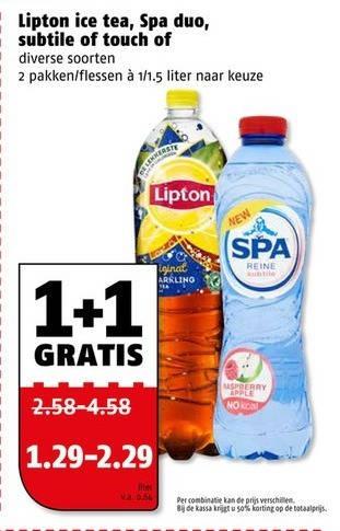Lipton   mineraalwater, ice tea folder aanbieding bij  Poiesz - details