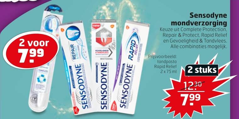 Sensodyne tandpasta, tandenborstel folder aanbieding bij
