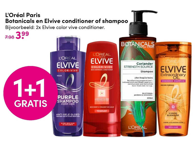 Elvive   conditioner, shampoo folder aanbieding bij  DA - details