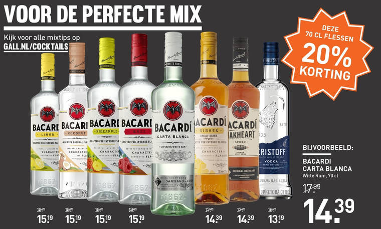 Bacardi   rum folder aanbieding bij  Gall&Gall - details