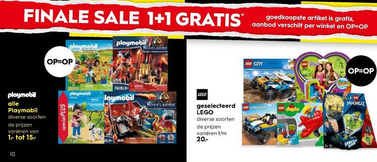 LEGO en Playmobil 1+1 gratis bij Blokker