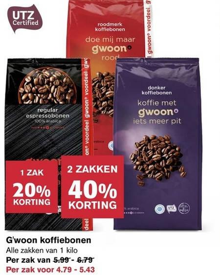 Gwoon   koffiebonen folder aanbieding bij  Hoogvliet - details