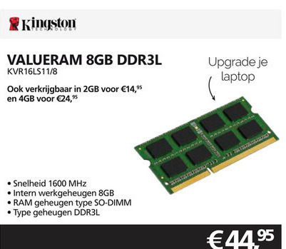 Kingston   computergeheugen folder aanbieding bij  Informatique - details
