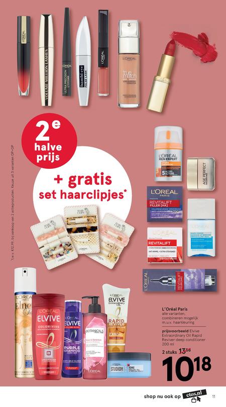 Elnett   shampoo, lipstick folder aanbieding bij  Etos - details