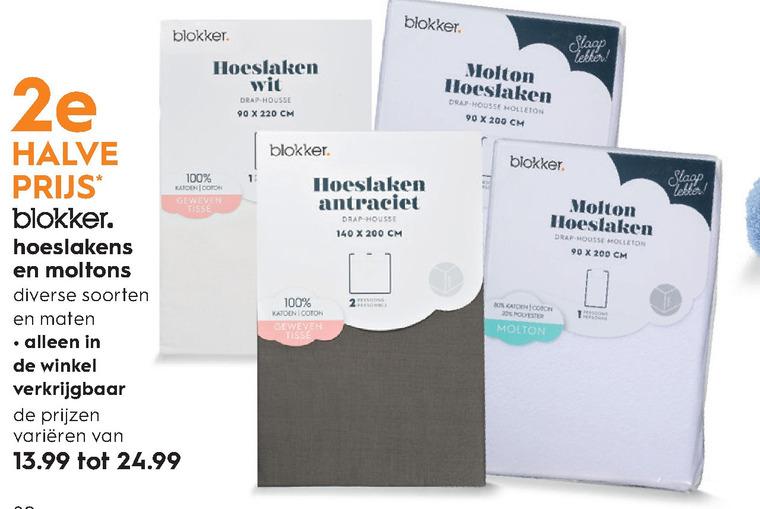 Blokker Huismerk   hoeslaken, molton folder aanbieding bij  Blokker - details
