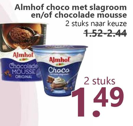 Almhof   chocolademousse folder aanbieding bij  MCDSupermarktBasis - details