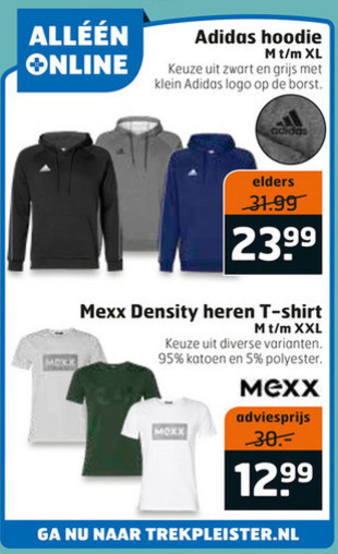 Adidas heren sweater, heren t shirt folder aanbieding bij
