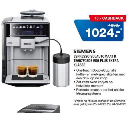 Siemens   espressoapparaat folder aanbieding bij  Electroworld - details
