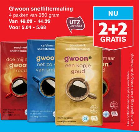 Gwoon   koffie folder aanbieding bij  Hoogvliet - details