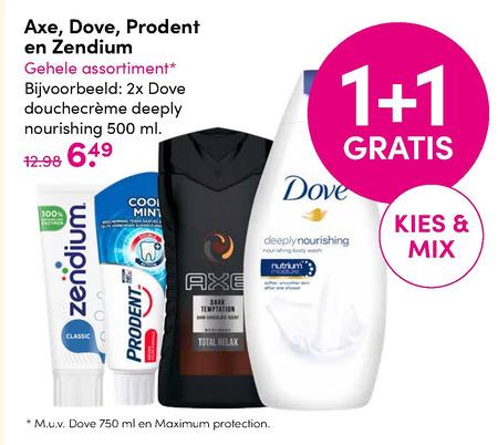 Axe   douchegel, tandpasta folder aanbieding bij  D.I.O.Drogist - details