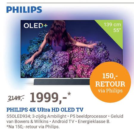 Philips   4k ultrahd televisies, oled televisie folder aanbieding bij  BCC - details