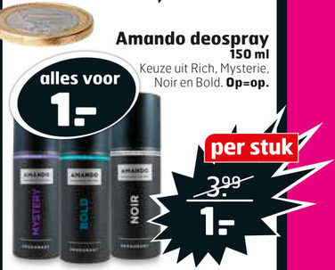 Amando   deodorant folder aanbieding bij  Trekpleister - details