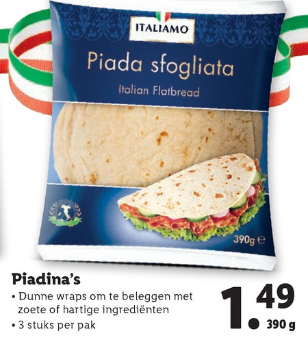 Italiamo   tortilla folder aanbieding bij  Lidl - details