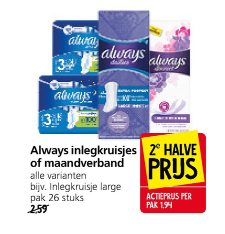 Always   inlegkruisjes, maandverband folder aanbieding bij  Jan Linders - details