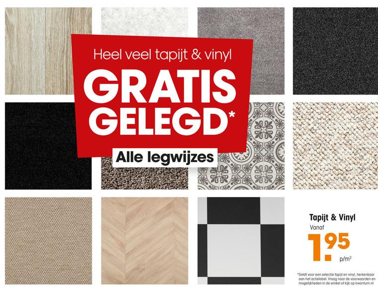 tapijt, vinyl folder aanbieding bij Kwantum details