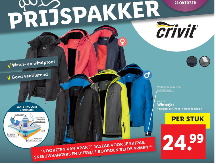 Crivit ski jas folder aanbieding bij Lidl details