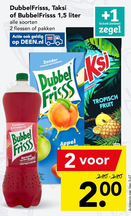 Dubbelfrisss   fruitdrank, frisdrank folder aanbieding bij  Deen - details