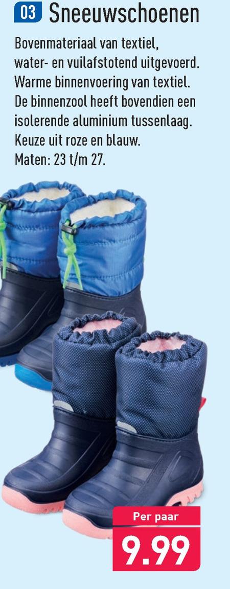 kinderen snowboots folder aanbieding bij Aldi details