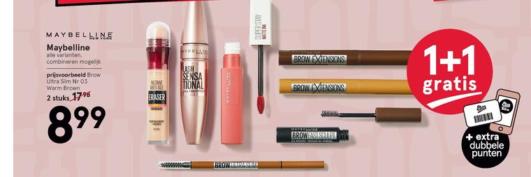Maybelline   lipgloss, mascara folder aanbieding bij  Etos - details