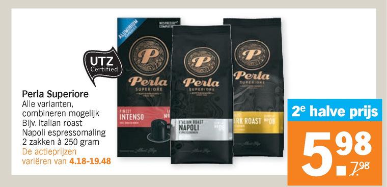 Perla   koffiecups, koffie folder aanbieding bij  AlbertHeijn - details