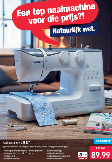 Medion   naaimachine folder aanbieding bij  Aldi - details