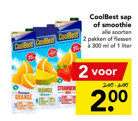 Coolbest   fruitsmoothie, vruchtensap folder aanbieding bij  Deen - details