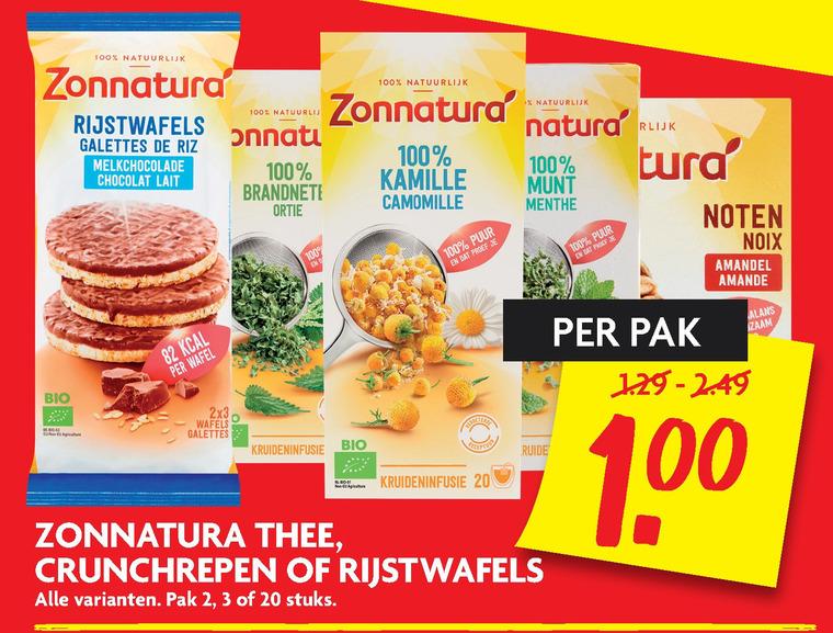 Zonnatura   thee, rijstwafels folder aanbieding bij  Dekamarkt - details