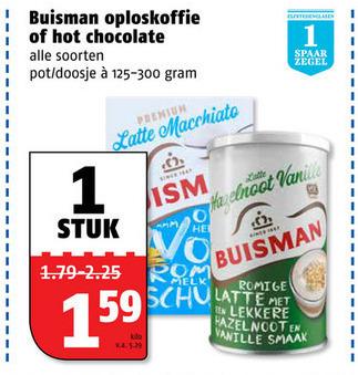 Buisman   oploskoffie, chocolademelk folder aanbieding bij  Poiesz - details