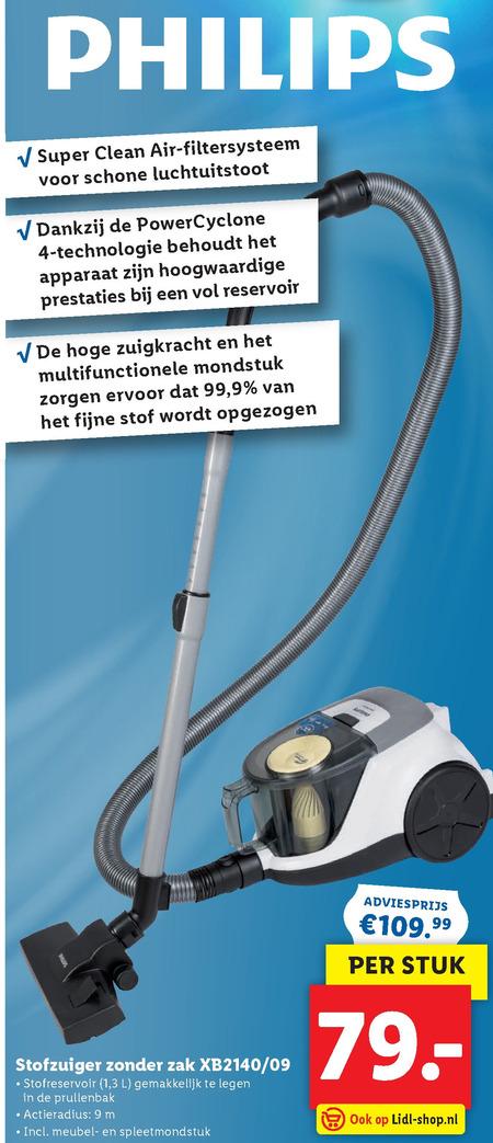 Philips   stofzuiger folder aanbieding bij  Lidl - details