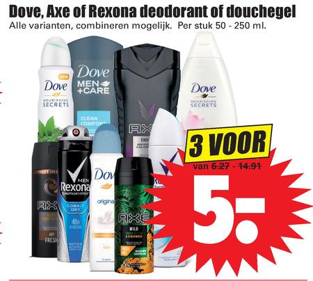 Axe   deodorant, douchegel folder aanbieding bij  Dirk - details