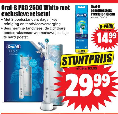 Braun Oral-B   electrische tandenborstel, opzetborstel folder aanbieding bij  Dirk - details