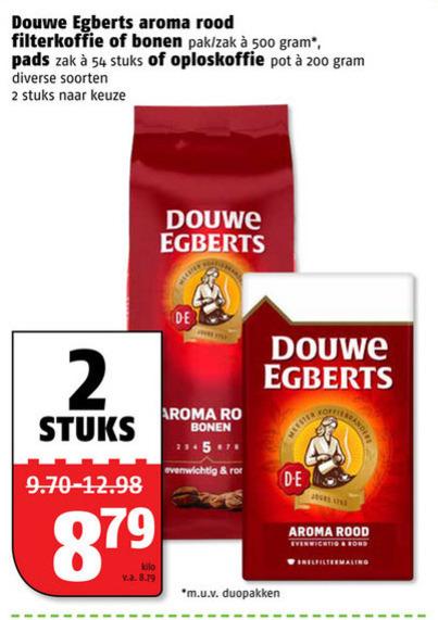Douwe Egberts   oploskoffie, koffiebonen folder aanbieding bij  Poiesz - details