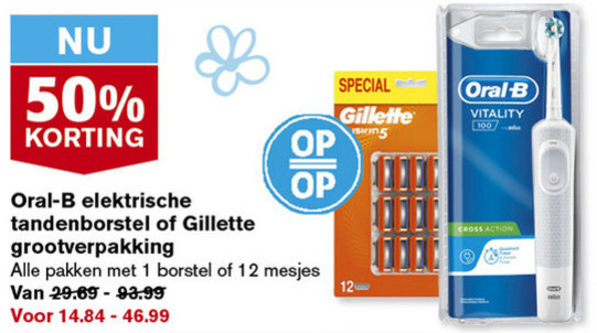 Gillette   scheermesjes, electrische tandenborstel folder aanbieding bij  Hoogvliet - details