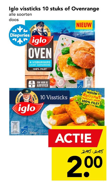 Iglo   vissticks folder aanbieding bij  Deen - details