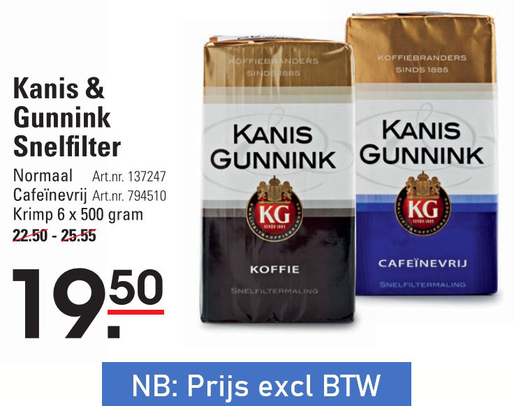 Kanis en Gunnink   koffie folder aanbieding bij  Sligro - details