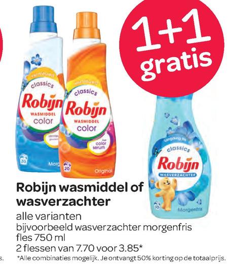 Robijn   wasverzachter, wasmiddel folder aanbieding bij  Spar - details
