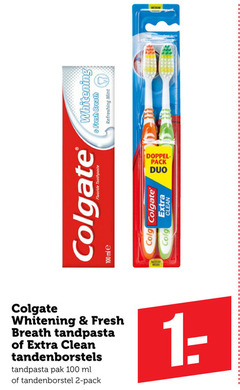 colgate tandpasta tandenborstel 2 100 whitening fresh breath refreshing mint chat doppel pack duo toothpaste clean tandenborstels pak ml