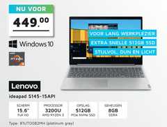 lenovo notebook 3 6 10 15 512 00 lang werkplezier windows 512gb ssd dun licht ideapad scherm full hd processor amd opslag gb geheugen 8gb ddr4 platinum grey