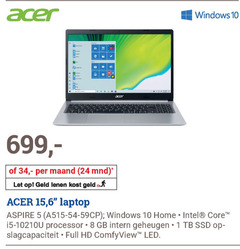acer notebook 1 5 6 8 10 15 24 34 windows be maand mnd let geld out laptop aspire home intel core processor gb intern geheugen ssd opslagcapaciteit full hd led