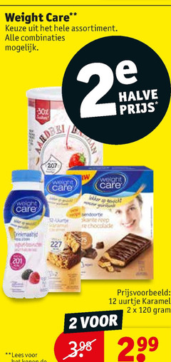 weight care afslankmaaltijden 1 2 12 120 assortiment combinaties halve karamel lees