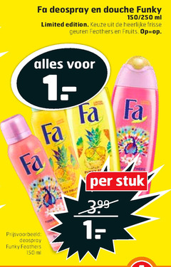 fa deodorant douchegel 1 30 150 deospray douche funky 250 ml limited edition frisse geuren feathers fruits stuk
