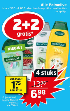 palmolive douchegel shampoo 2 4 650 ml handzeep combinaties klit dag stuks stuk douche natural wellness
