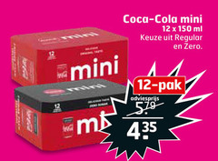 coca-cola cola 12 150 coca mini ml regular zero pak