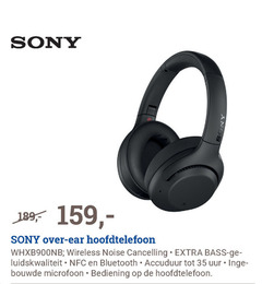 sony koptelefoon 35 anos ear hoofdtelefoon wireless noise cancelling bass ge bluetooth accuduur uur microfoon bediening