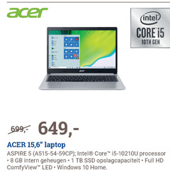 acer notebook 1 5 8 10 intel core 15 6 laptop aspire processor gb intern geheugen ssd opslagcapaciteit full hd led windows home