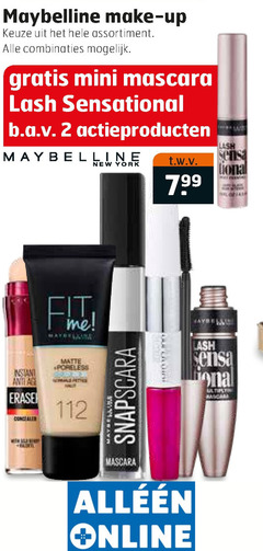 maybelline nagellak lipgloss oogschaduw lipstick gezichtspoeders cosmetica eyeliner mascara foundation 2 make up assortiment combinaties mini sensational actieproducten new york sensa tona