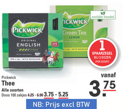 pickwick thee 3 100 1000 eerlijke green tea lemon 00 natural original english intense certified with envelop dozen envelope soorten doos zakjes