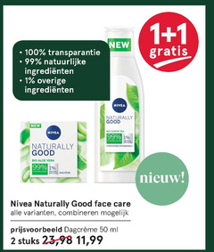 nivea dagcreme 1 2 50 99 100 new transparantie natuurlijke naturally good bio green tea natural origin ingredients hydraterende reinigingsmelk aloe vera face care combineren ml stuks 23 11